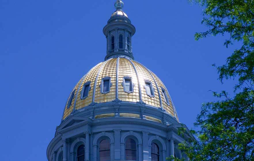 Colorado capital building with blue sky