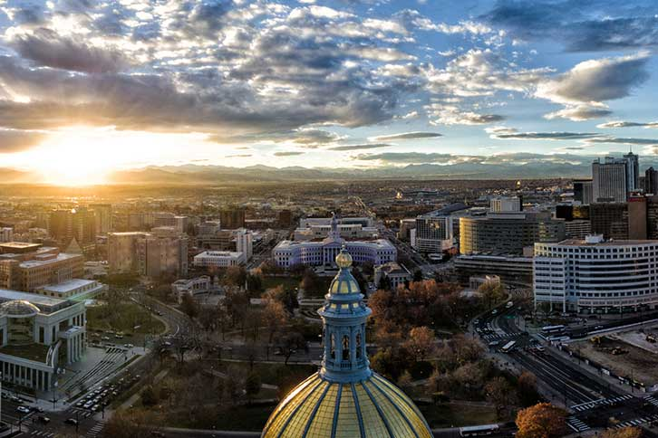 Sunset over downtown Denver from the Capitol