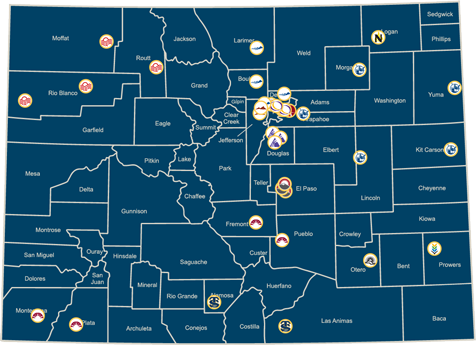 Colorado map with Colorado Community College main campus locations