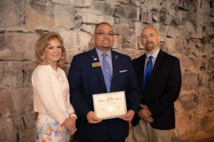 Advocate of the Year, David Siguenza, with PCC President Dr. Patty Erjavec and CCCS Chancellor Joe Garcia