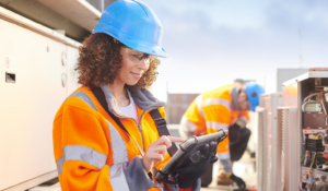 Image of woman working on HVAC