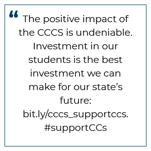 Tweet preview: The positive impact of the CCCS is undeniable. Investment in our students is the best investment we can make for our state's future. #supportCCs