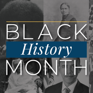 Black History Month graphic with photos of historic black americans in the background