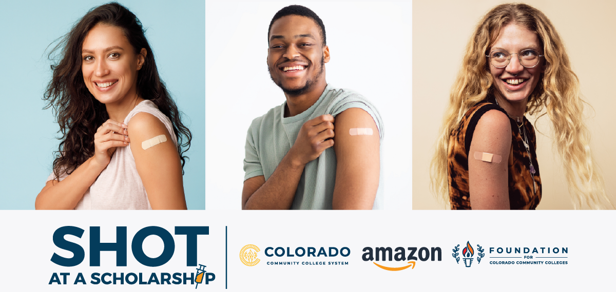 """Three vaccinated college students showing their bandaids - """"Shot at a Scholarship"""" with CCCS, Foundation, and Amazon logo"""