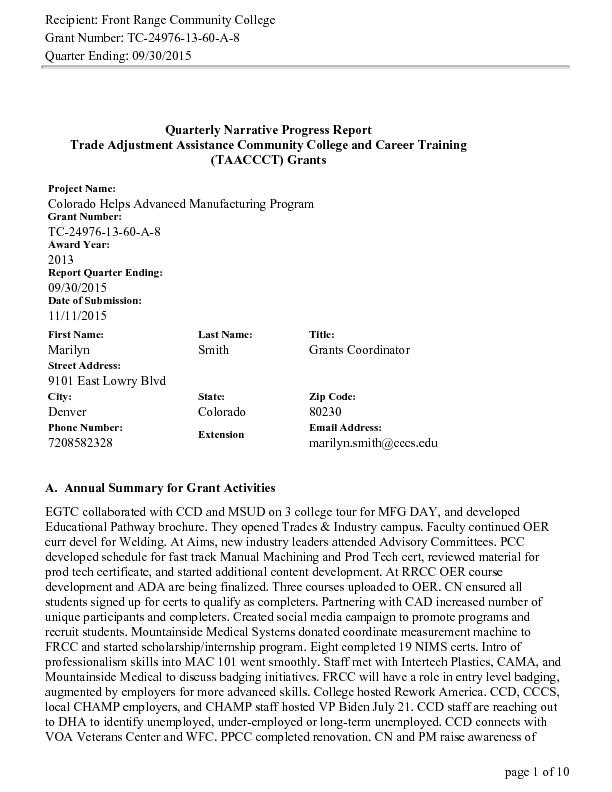 CHAMP Y2 Q4 Program DOL Narrative Report ending September 2015 PDF