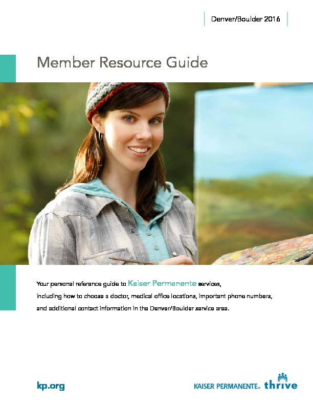 Kaiser Member Resource Guide Denver/Boulder – English PDF