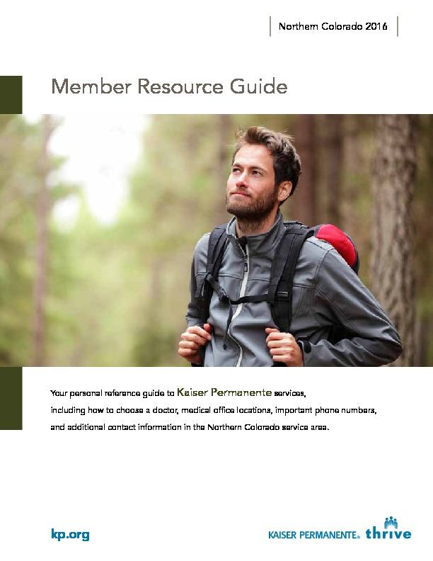 Kaiser Member Resource Guide Northern CO – English PDF