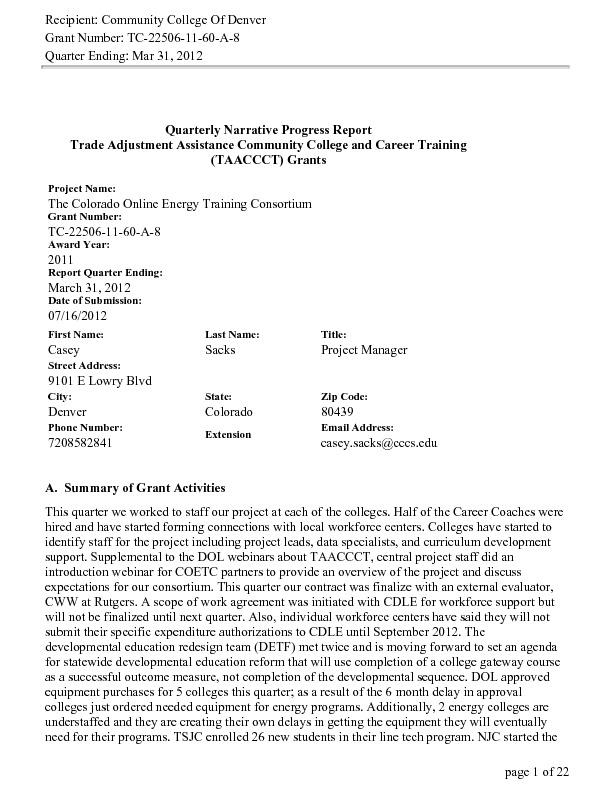 Quarter Ending March 2012 PDF