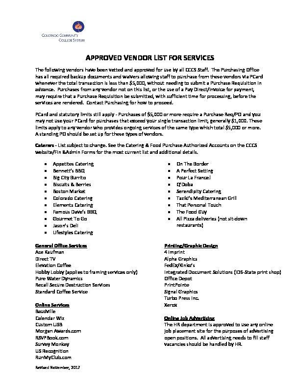 Approved Vendor List for Services PDF