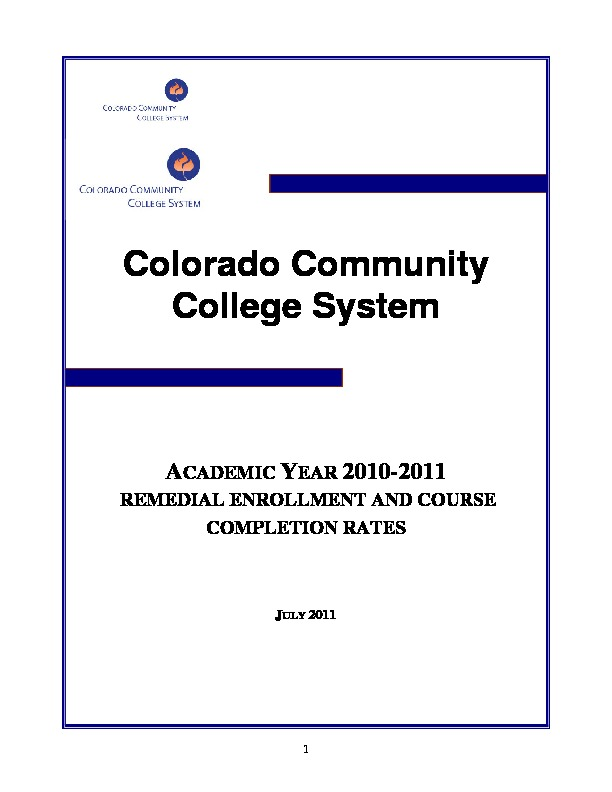 2011 Remedial Enrollment and Course Completion Rates PDF