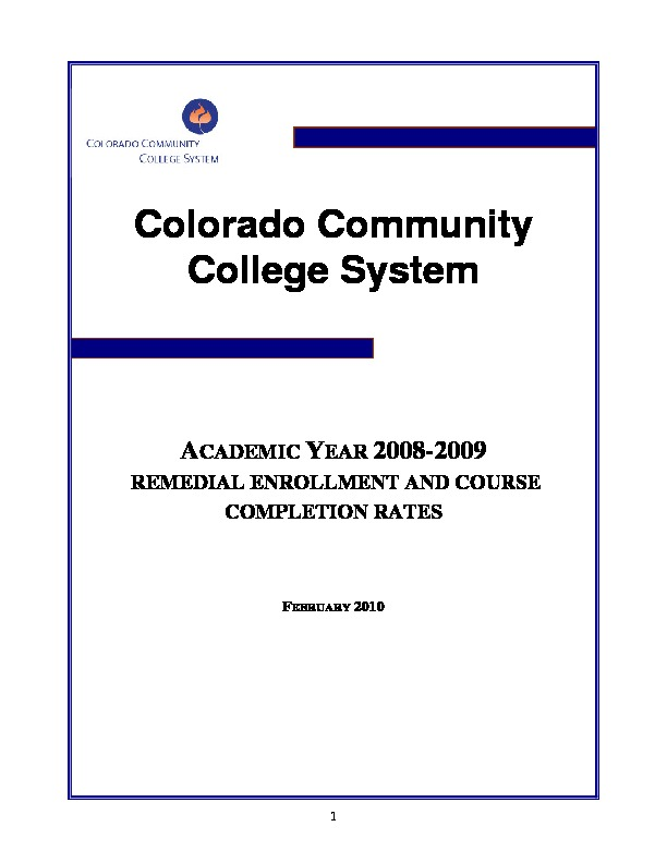 2009 Remedial Enrollment and Course Completion Rates PDF