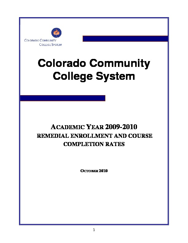 2010 Remedial Enrollment and Course Completion Rates PDF