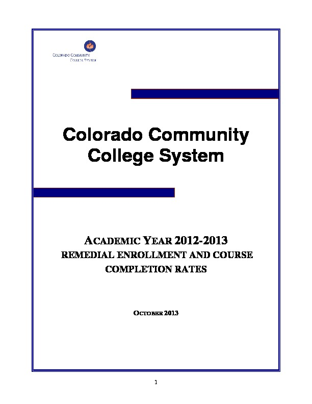 2013 Remedial Enrollment and Course Completion Rates PDF