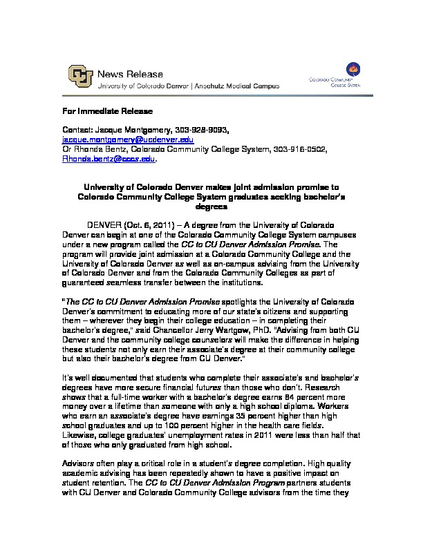 University of Colorado Denver Press Release PDF