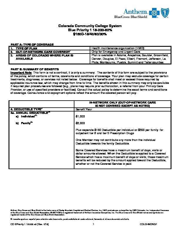 Anthem Blue Priority Benefit Summary PDF