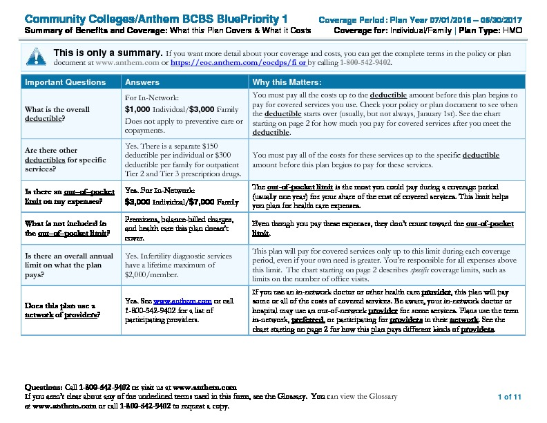 Anthem Blue Priority Summary of Benefits and Coverage (SBC) PDF