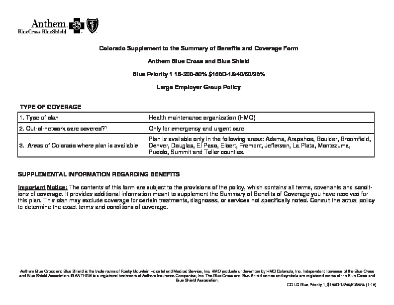 Anthem Blue Priority SBC Supplement PDF