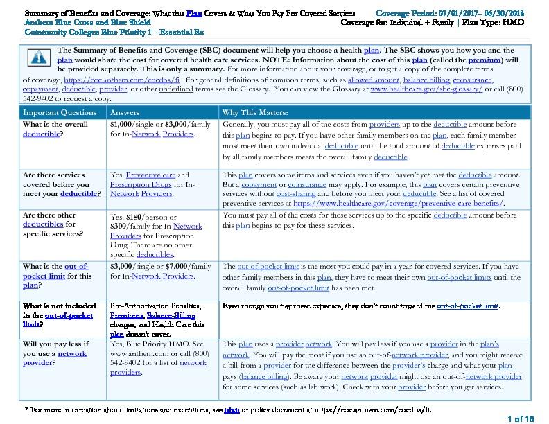 Anthem Blue Priority SBC PDF