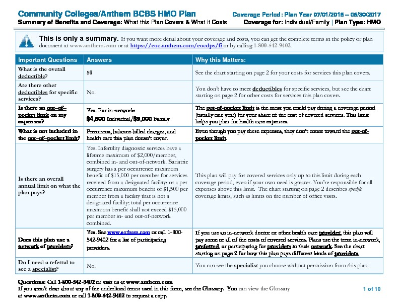 Anthem HMO Summary of Benefits and Coverage (SBC) PDF