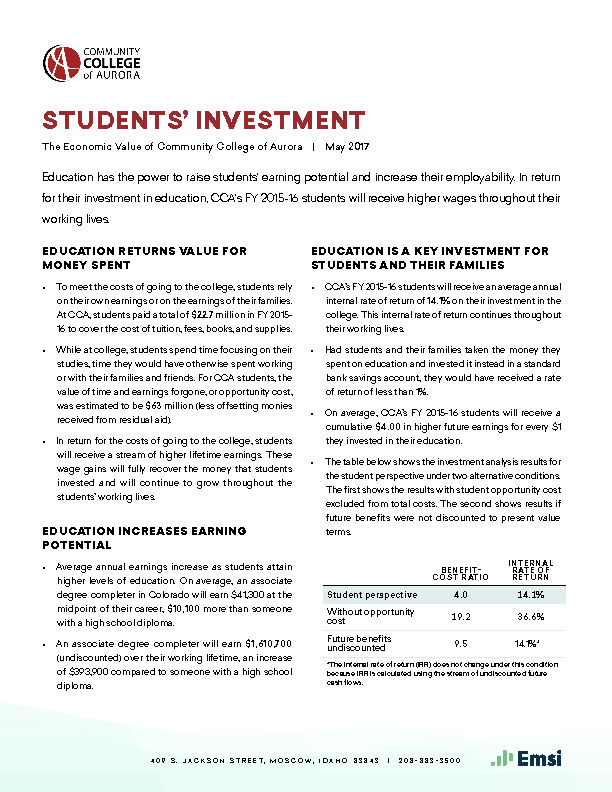 Students' Investment (CCA) PDF