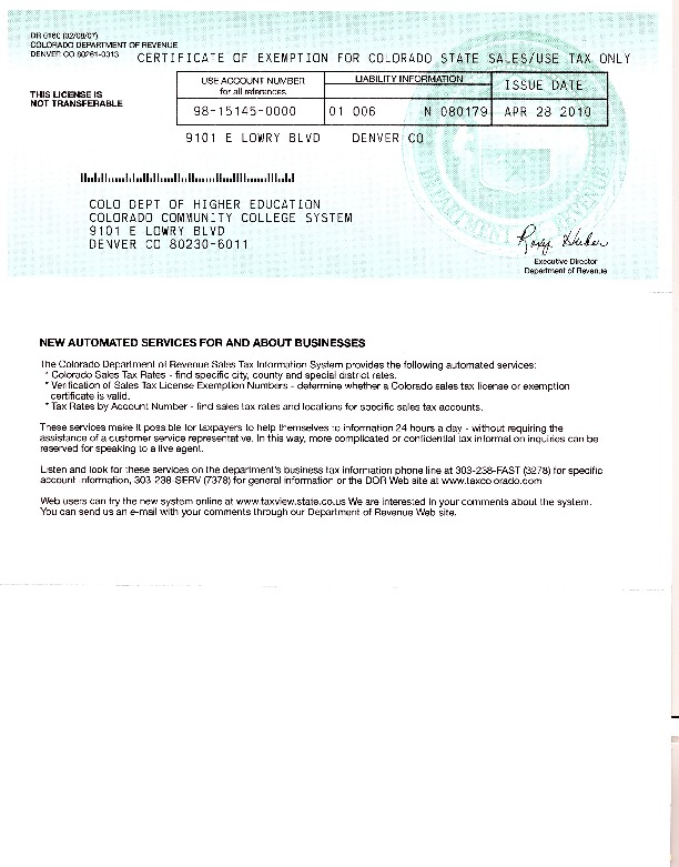 Tax Exemption Certificate PDF