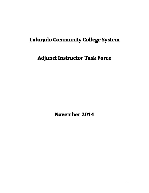 Adjunct Instructor Task Force Findings/Recommendations Report PDF