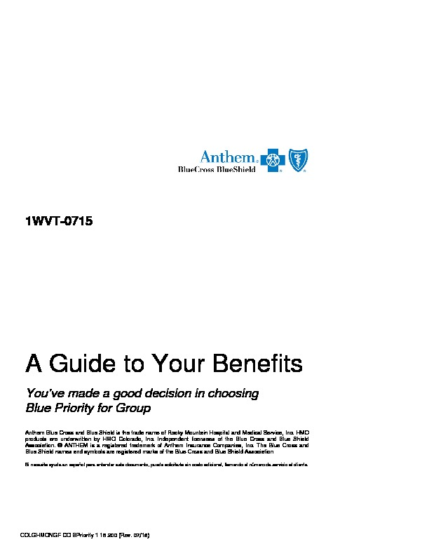 Anthem Blue Priority Evidence of Coverage PDF