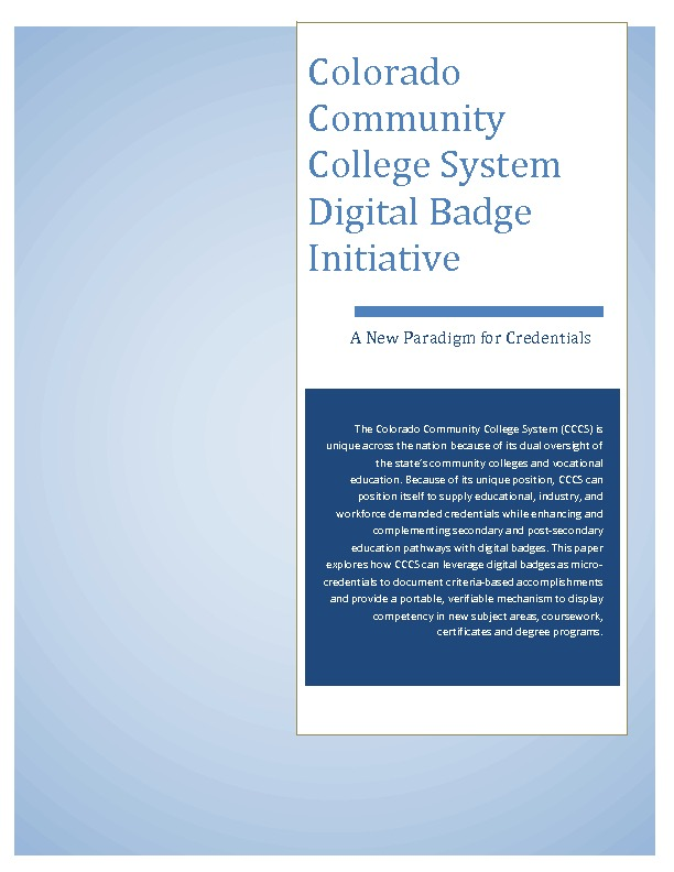 Colorado Community College System Digital Badge Initiative