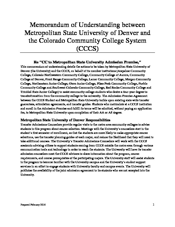 Metropolitan State University Admission Promise PDF