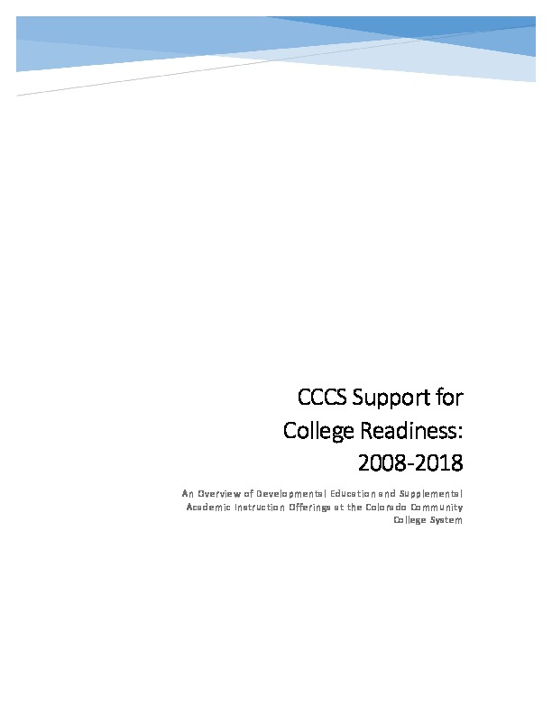 CCCS Support for College Readiness 2008-2018 PDF