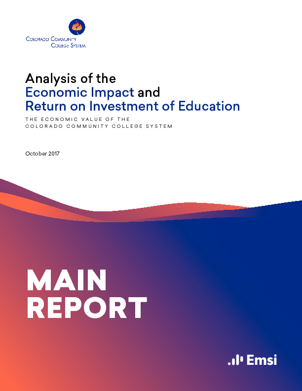 return on investment and economic value Analysis of the return on investment and economic impact of education: the economic value of washington's community and technical colleges main report washington state board for community and technical colleges.