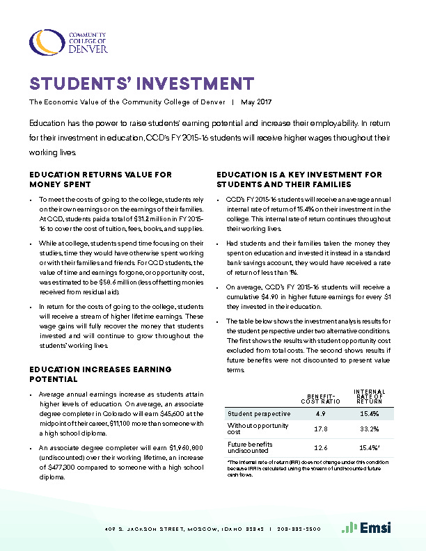 Students' Investment (CCD) PDF