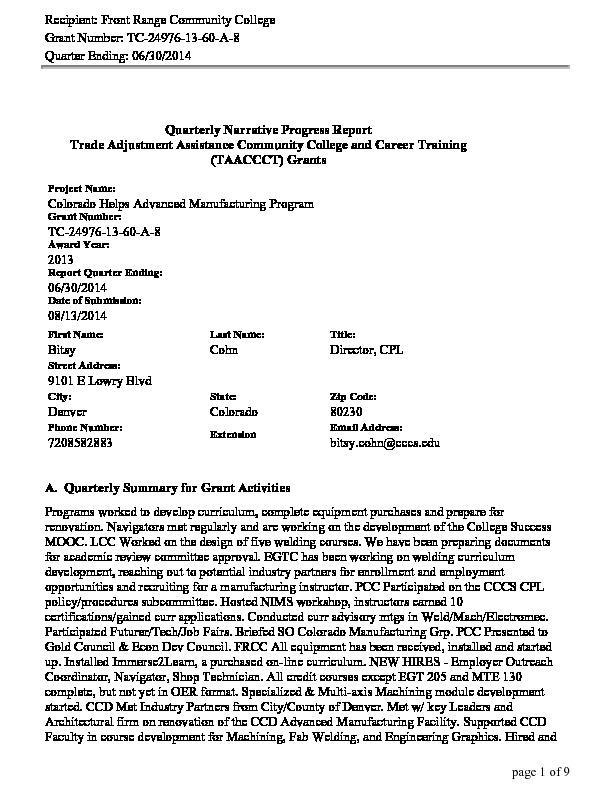 CHAMP Y1 Q3 Program DOL Narrative Report ending June 2014 PDF