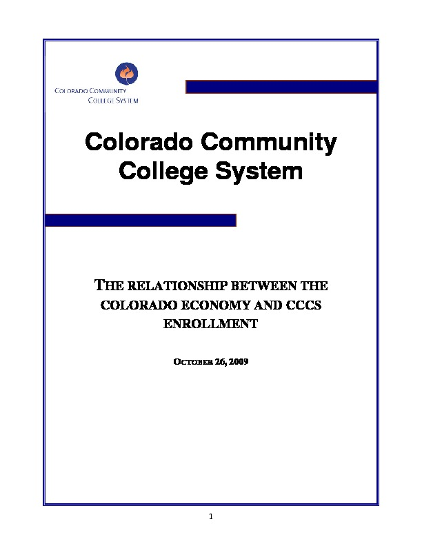 2009 The Relationships Between the Colorado Economy and CCCS Enrollment PDF