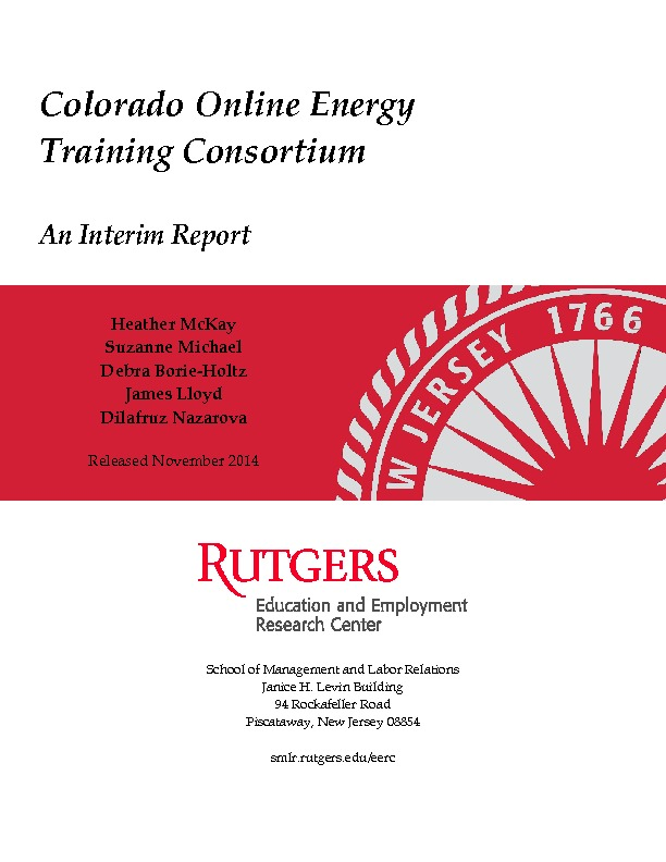 Colorado Online Energy Training Consortium Interim Report Nov. 2014 PDF