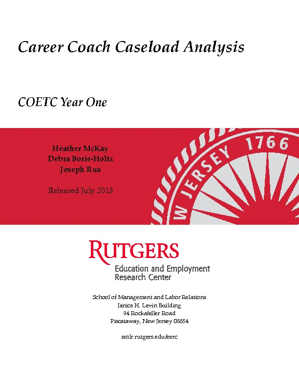 Career Coach Caseload Analysis COETC Year 1 July 2013 PDF
