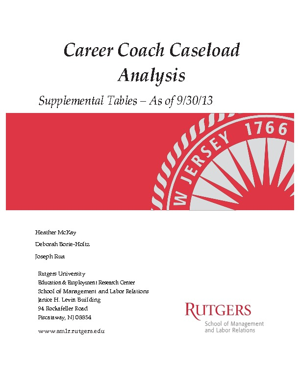 Career Coach Caseload Analysis – Supplemental Tables Sept. 2013 PDF