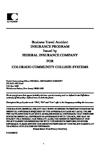 Chubb Federal * Business Travel Accident Policy PDF