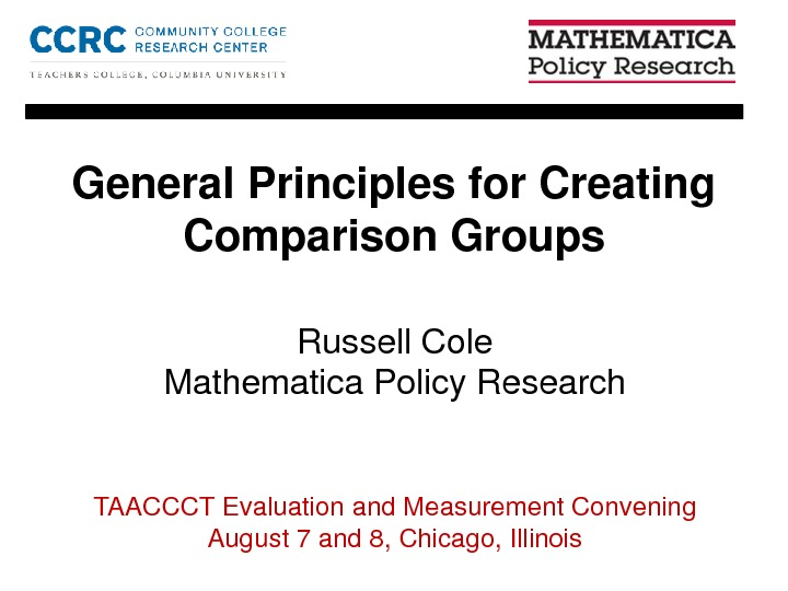 General Principals for Creating Comparison Groups. By Russell Cole PDF