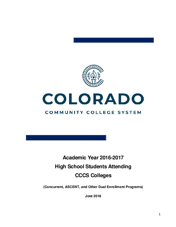 2016-17 Concurrent Enrollment Report PDF