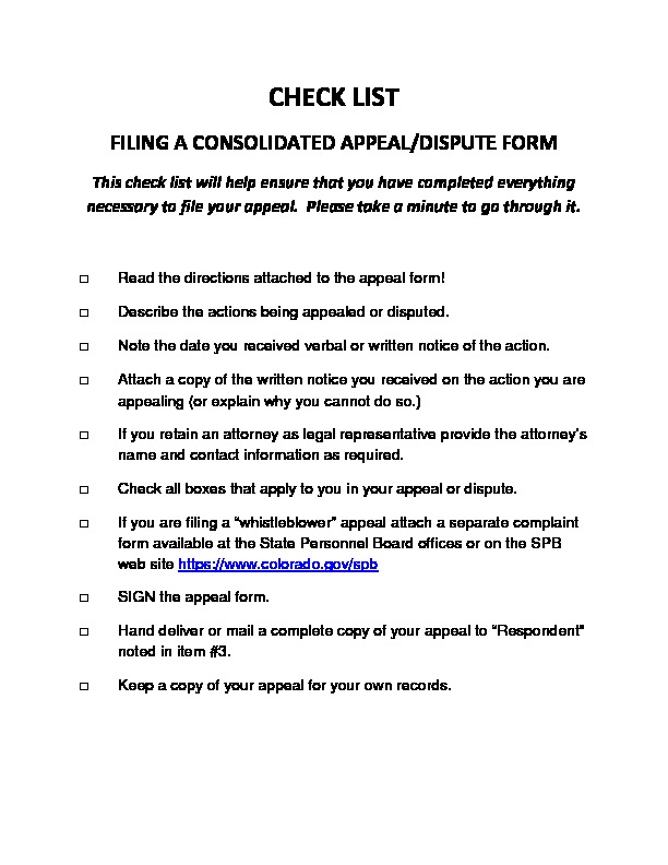 Consolidated Appeal / Dispute Checklist PDF