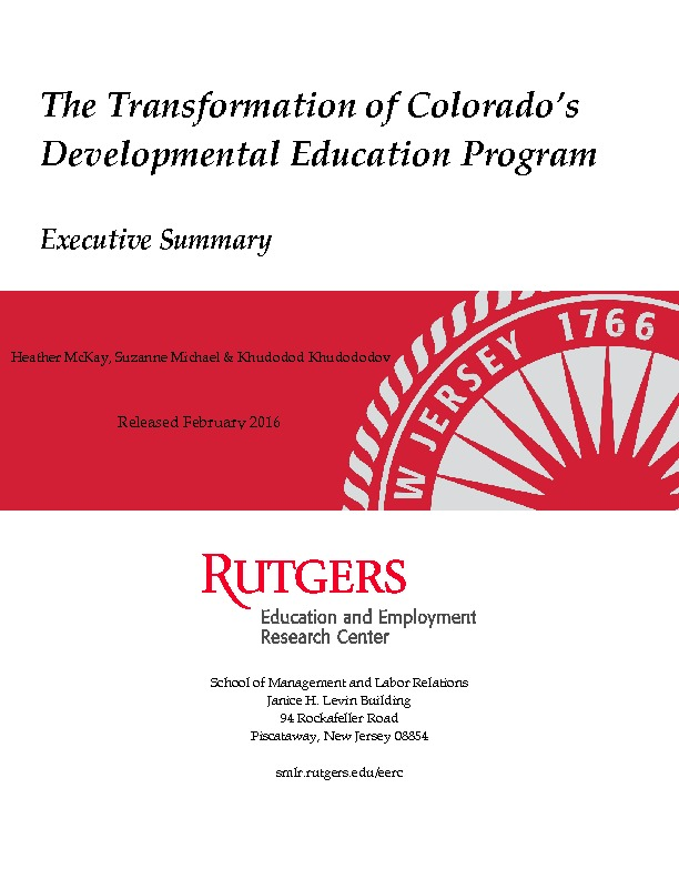 Executive Summary from the Rutgers University Developmental Education Evaluation 2015 PDF