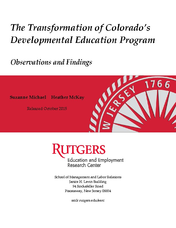 DevEd Qualitative Report FINAL Rutgers 2015 PDF