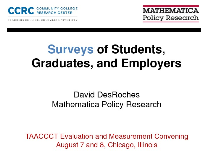 Surveys of Students, Graduates, and Employers. By David DesRoches PDF