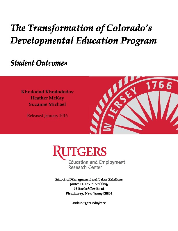 DevEd Quantitative Report Final Rutgers 2015 PDF