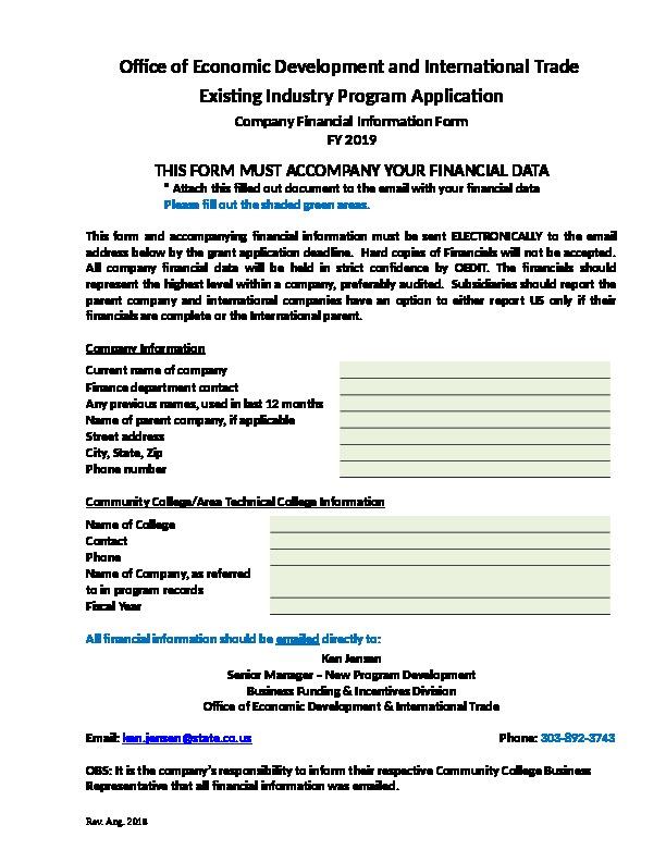FY19 OEDIT EI Company Financial Form Word Document