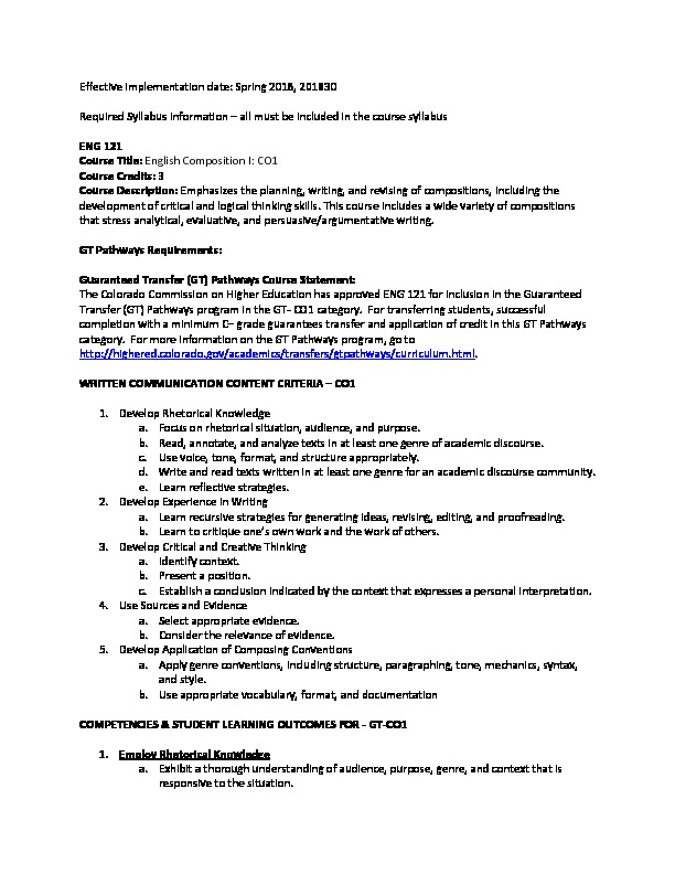 ENG 121 Required Syllabi Info CO1 PDF