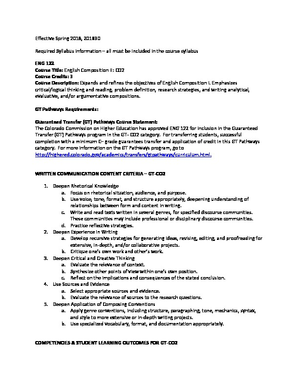 ENG 122 Required Syllabi Info CO2 PDF