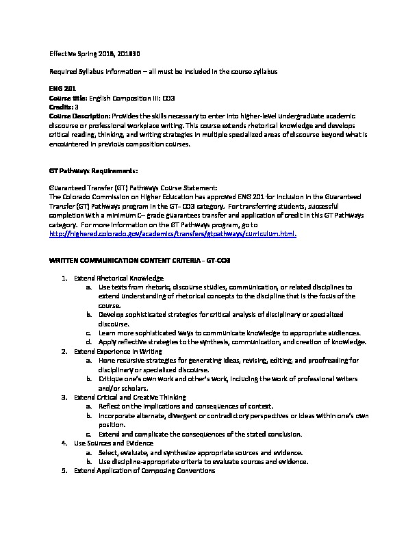 ENG 201 Required Syllabi Info CO3 PDF