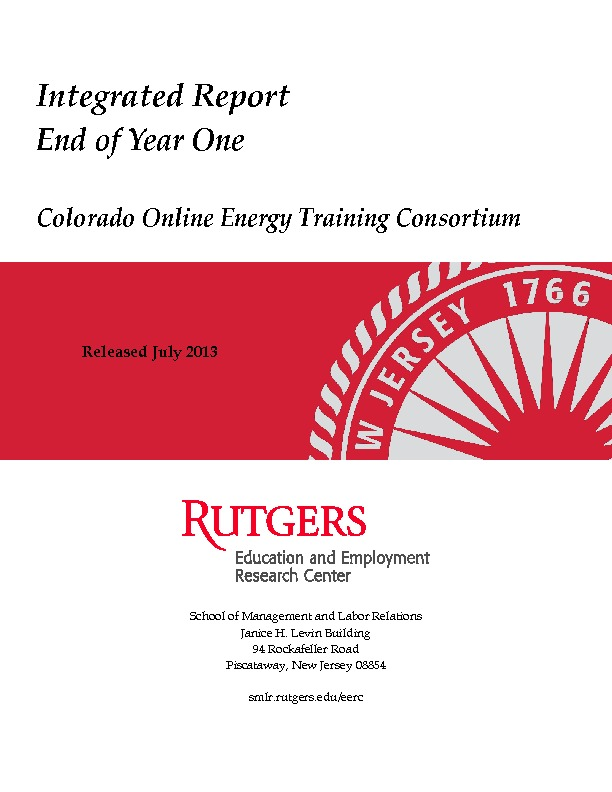 Integrated Report End of Year One -Colorado Online Energy Training Consortium July 2013 PDF